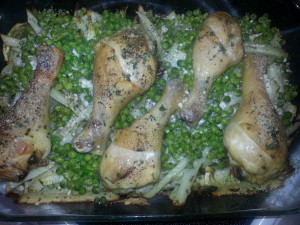 Chicken, potatoes, peas