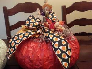 Dryer Vent Pumpkin Candy Corn Bow