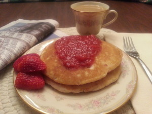 Pancakes with Strawberry Sauce