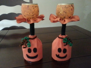 Wine glass votive pumpkin1