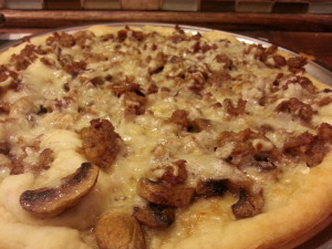 Pizza Mushroom, Sausage and Gruyere